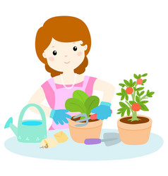 woman planting healthy organic vegetable cartoon vector image