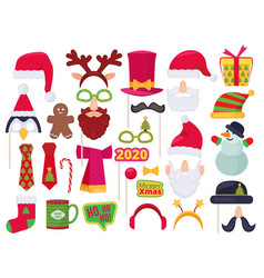 xmas booth holidays funny characters costumes and vector image