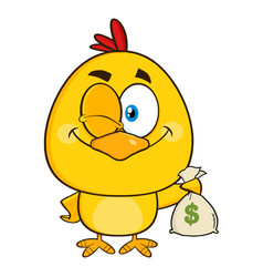 yellow chick character winking and holding a money vector image