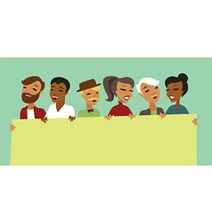 people characters holding banner vector image vector image