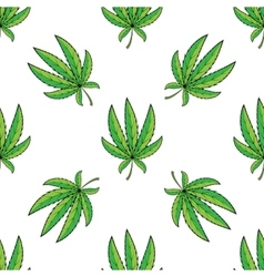 seamless retro pattern cannabis green leaf vector image