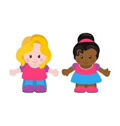 Two little girls cartoon style vector image