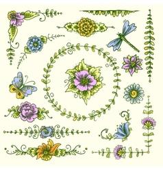 Vintage decorative elements color vector image vector image