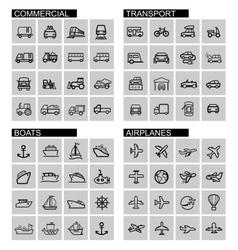 black transport icons set vector image vector image