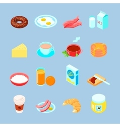 Breakfast Food And Drinks Flat Icon Set vector image