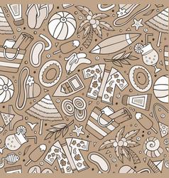 cartoon summer time seamless pattern vector image
