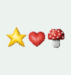 color pixelated set of star and heart with vector image