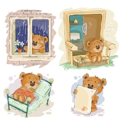 Set clip art of bored teddy vector