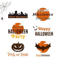 set of halloween typographic banners vector image