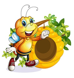 A bee near the beehive vector image vector image