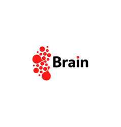 Brain hemispheres logo red round shapes abstract vector