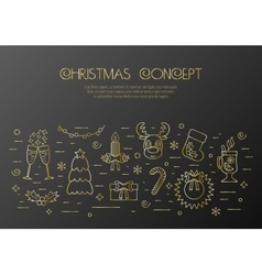 Christmas black concept with decorated Christmas vector image vector image
