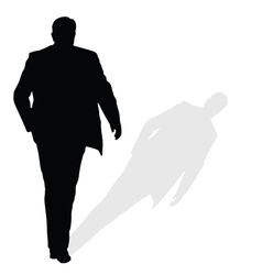 man walking silhouette art with shadow vector image