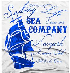 old ship marine club watercolor tee graphic design vector image vector image