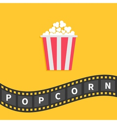 Popcorn big film strip wave ribbon line with text vector