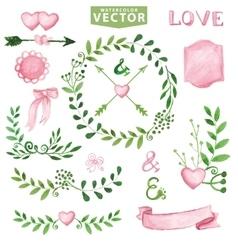Watercolor Wedding setBrancheslaurels wreath vector image vector image