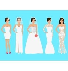 A set of wedding dresses vector