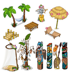 ancient idols and tropical theme big set vector image vector image