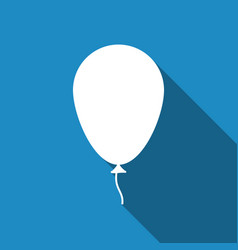 balloon with ribbon flat icon with long shadow vector image