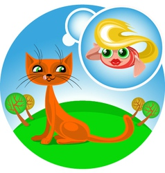 cartoon cat dreaming about fish vector image vector image