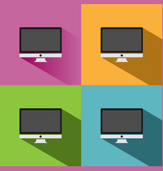 computer icon with shade on colored backgrounds vector image vector image