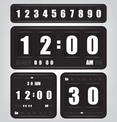 Digital retro clock and calendar vector image