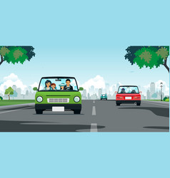 family driving vector image