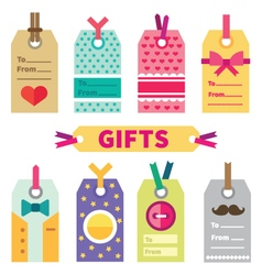 Gift set of labels and post card vector image vector image