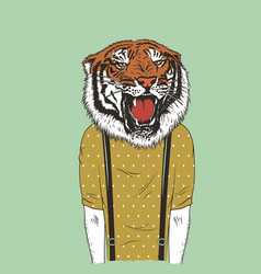 human with tiger head vector image vector image