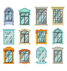 retro wood or wooden window frames view isolated vector image