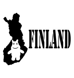 symbol of finland and map vector image vector image