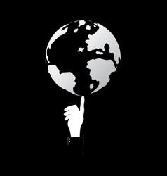 technology businessman hand point world globe vector image vector image