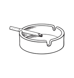 White clean and empty ceramic ashtray with a vector image vector image