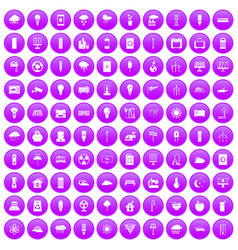100 windmills icons set purple vector