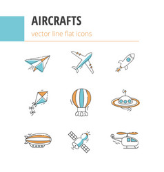 9 line flat icons aircrafts vector image