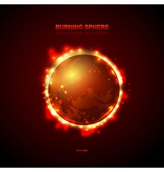 Abstract burning fire Planet vector image