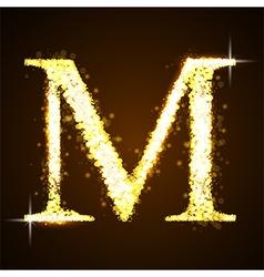 Alphabets m gold glittering stars vector