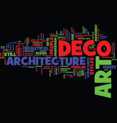 art deco architecture text background word cloud vector image