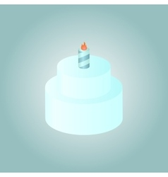 Birthday cake whith burning candle vector