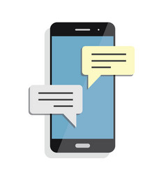 Black smartphone with chatting screen messenger vector
