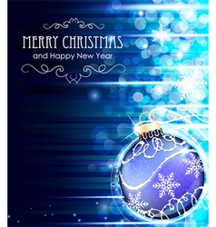 Blue background with Christmas ball vector