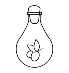 Bottle with olive oil icon outline style vector