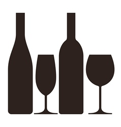 bottles and glasses wine and champagne vector image