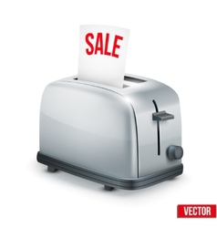 Bright Metal toaster with message SALE isolated on vector image