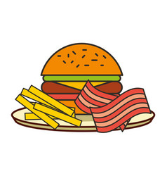 burger french fries and bacon fast food vector image