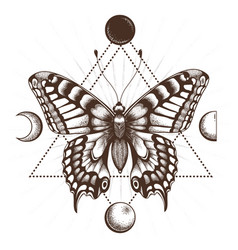 Butterfly tattoo in triangle moon phases vector