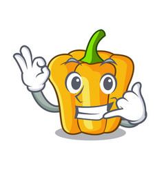 Call me sweet yellow pepper isolated on mascot vector