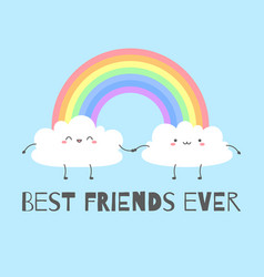 cartoon background with cute clouds vector image