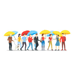 Cartoon characters people holding umbrella crowd vector