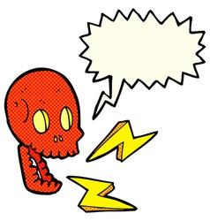 Cartoon crazy skull with speech bubble vector